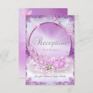 Reception Wedding Pink Lilac Rings Butterfly Invitations