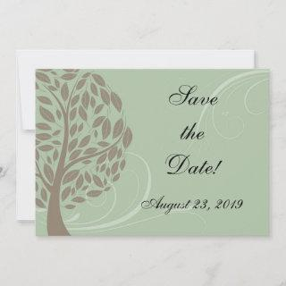 Recycled Paper Green Eco Tree Photo Save the Date
