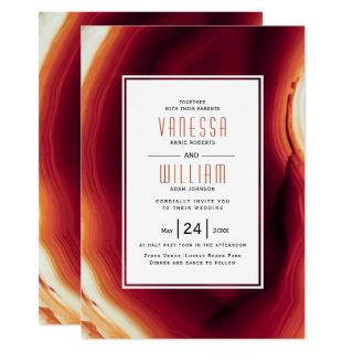 Red agate slice and frame fall wedding invitation