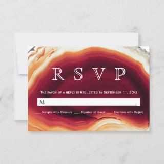 Red agate slice geode autumn colors wedding RSVP