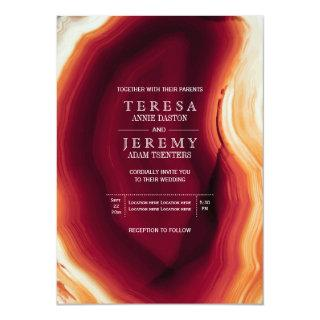 Red agate slice in fall colors modern wedding invitation