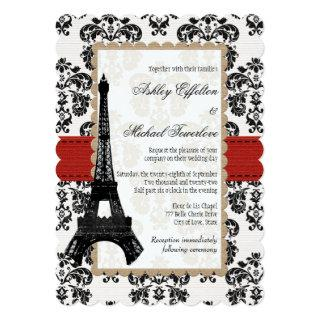 Red and Black Damask Eiffel Tower Wedding Invitations