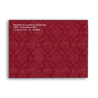 Red and Black Embossed Look Damask Invitations G700 Envelope