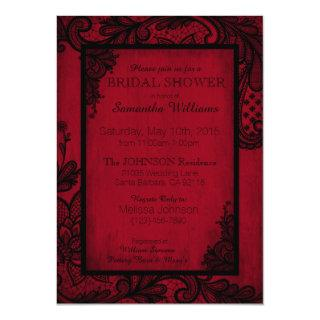 Red and Black Lace Gothic Bridal Shower Invitation