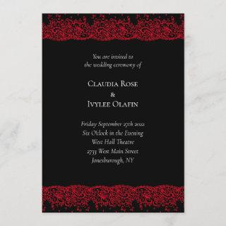 Red and Black Lace Gothic Wedding Invitation