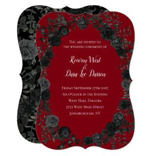 Red and Black Rose Gothic Wedding Invitations