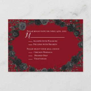 Red and Black Rose Gothic Wedding Reply Card