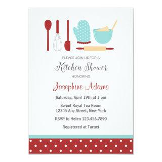Red and Blue Bridal Shower Invitations