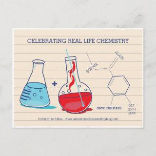 Red and Blue Save the Date Chemistry Postcards