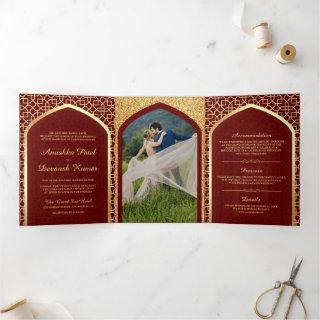 Red and Gold Bollywood Style Indian Wedding Tri-Fold Invitation