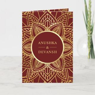 Red and Gold Ethnic Mandala Indian Wedding Invitations