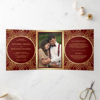 Red and Gold Ethnic Mandala Indian Wedding Tri-Fold Invitations