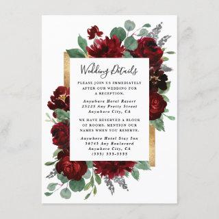 Red and Gold Floral Roses Greenery White Wedding Enclosure Card