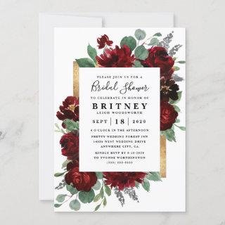 Red and Gold Floral Rustic Elegant Bridal Shower Invitations