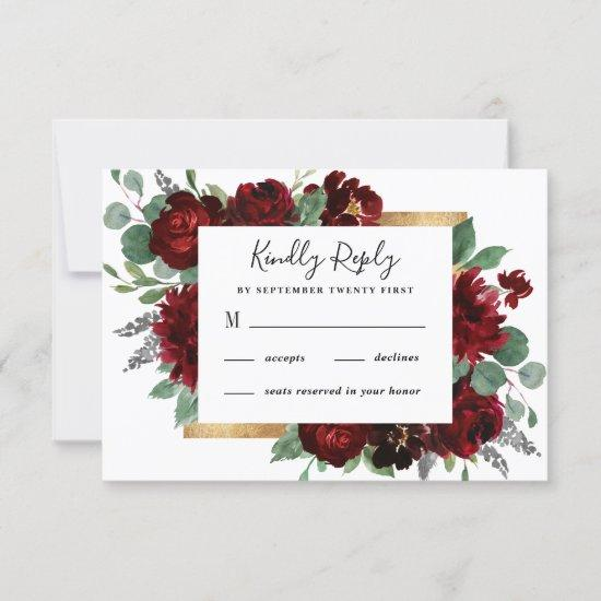 Red and Gold Floral Rustic Elegant White Wedding RSVP Card
