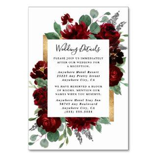 Red and Gold Floral  White Wedding Enclosure Cards