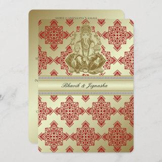 Red and Gold Indian Damask Wedding Invitations
