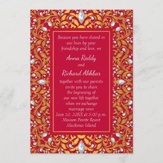 Red and Gold Indian Hindu Wedding Invitations