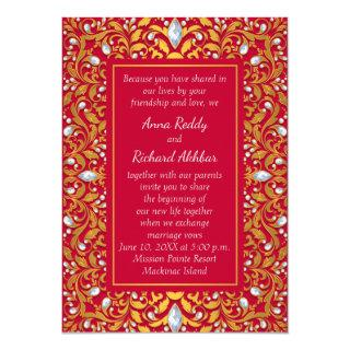 Red and Gold Indian Hindu Wedding Invitation