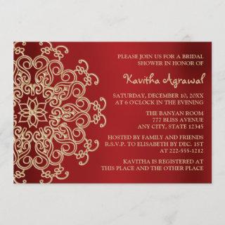Red and Gold Indian Inspired Bridal Shower Invitations