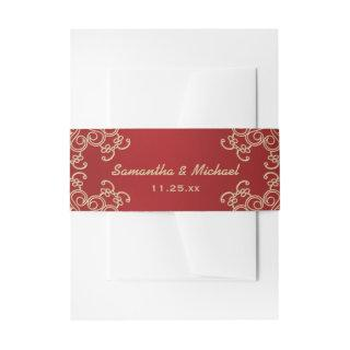 Red and Gold Indian Inspired Invitations Belly Band