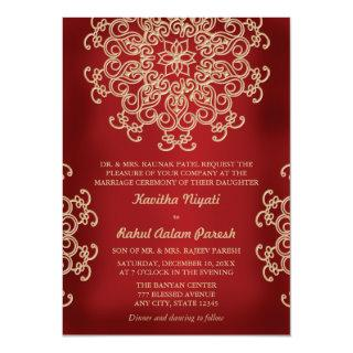 RED AND GOLD INDIAN STYLE WEDDING Invitations