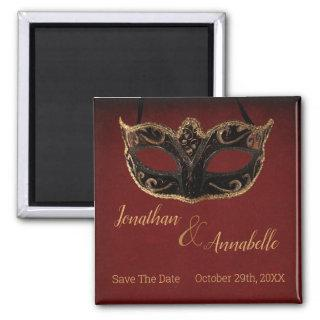 Red and Gold Masquerade Save The Date Magnet