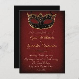 Red and Gold Masquerade Wedding Invitation