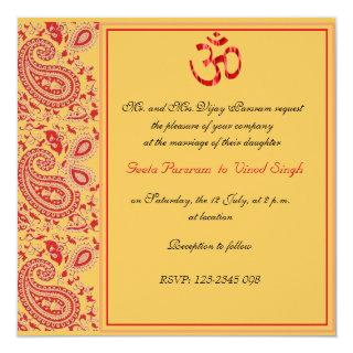 Red and Gold paisley Hindu wedding Invitation