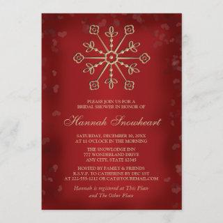 RED AND GOLD SNOWFLAKE BRIDAL SHOWER Invitations