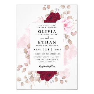 Red and Pink Floral Rustic Elegant White Wedding Invitations
