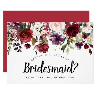 Red and Pink Floral Will You be My Bridesmaid Card