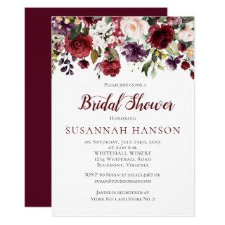 Red and Purple Floral Bouquet Drop Bridal Shower Invitation