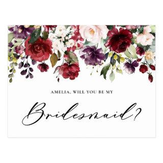 Red and Purple Flowers Will You Be My Bridesmaid Postcard