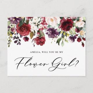 Red and Purple Flowers Will You Be My Flower Girl Postcard