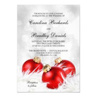 Red And Silver Christmas Wedding Invitation