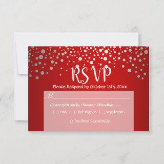 Red and Silver Confetti Dots - RSVP