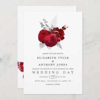 Red and Silver Vintage Rose Wedding
