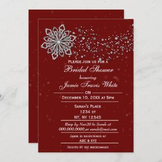 red and Silver Winter Bridal shower invite