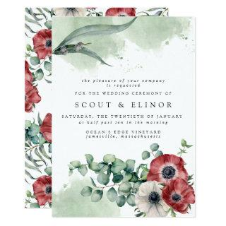 Red and White Floral with Eucalyptus Leaves Invitation