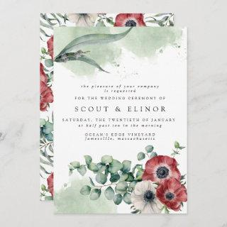 Red and White Floral with Eucalyptus Leaves Invitations