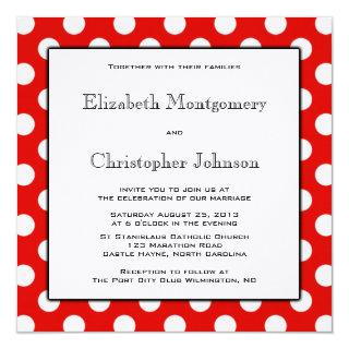 Red and White Polka Dot Wedding Invitations
