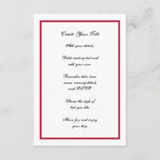 Red and White Simple Border Wedding Invite