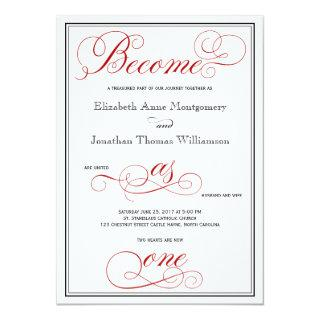 Red Become as One Christian Wedding Invitations