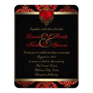 Red Black and Gold Wedding Invitation