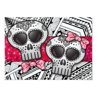 Red Black and White Sugar Skull Wedding Glitter Invitation