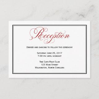 Red Black and White Wedding Reception Details Card