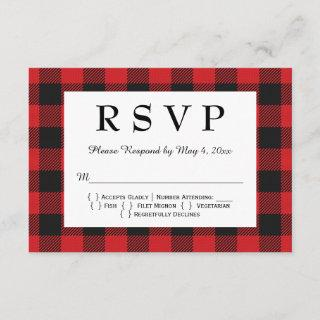 Red Black Buffalo Plaid Wedding RSVP Card