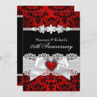 Red Black Damask Heart Bow 25th Anniversary Invitation