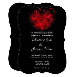 Red & Black Hearts and Roses Butterfly Wedding Invitation